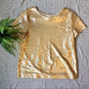 J. Crew Factory Gold Sequined Top